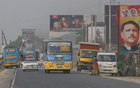 Vehicles are seen changing lanes in Kuchiamara on the Dhaka-Mawa Highway. Photo: tanvir ahammed