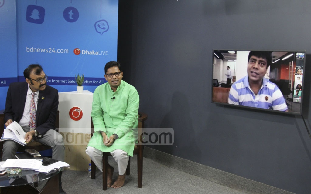 bdnews24.com Head of Current Affairs and Editorial Policy Coordinator Gazi Nasiruddin Ahmed joins the programme titled 'Social Media Parade' on the internet safety at the Software Technology Park in Dhaka's Karwan Bazar on Monday through a video call. Photo: asif mahmud ove