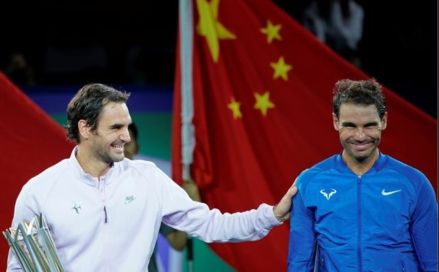 Shanghai Masters tennis tournament - Men's Singles Finals - Shanghai, China - October 15, 2017 - Winner Roger Federer of Switzerland and Rafael Nadal of Spain after the match. Reuters