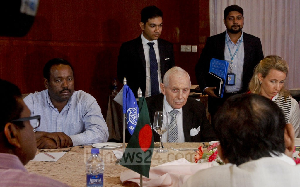International Organization for Migration (IOM) Director General William Lacy Swing speaks during a meeting to discuss the Rohingya crisis with representatives of the Ministry of Disaster Management and Relief at Dhaka's Hotel Westin on Tuesday. Photo: tanvir ahammed