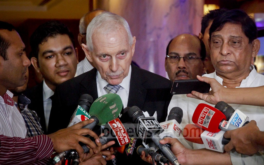 International Organization for Migration (IOM) Director General William Lacy Swing speaks to reporters at Dhaka's Hotel Westin after a meeting to discuss the Rohingya crisis with the Ministry of Disaster Management and Relief on Tuesday. Photo: tanvir ahammed