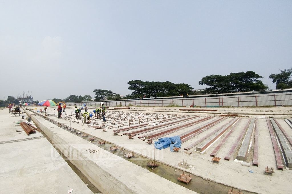 Girders for the elevated expressway are to be made in this yard across from Dhaka's Hazrat Shahjalal International Airport before being used on the construction. Photo: abdul mannan