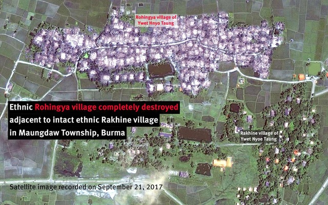 Ethnic Rohingya village completely destroyed adjacent to intact ethnic Rakhine village in Maungdaw Township, Burma. Human Rights Watch