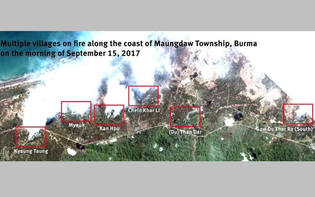 Multiple villages on fire along the coast of Maungdaw Township, Burma on the morning of Sept 15, 2017. Human Rights Watch