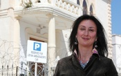 Maltese investigative journalist Daphne Caruana Galizia poses outside the Libyan Embassy in Valletta April 6, 2011. Investigative journalist Caruana Galizia was killed after a powerful bomb blew up a car killing her in Bidnija, Malta, in October 16, 2017. Reuters