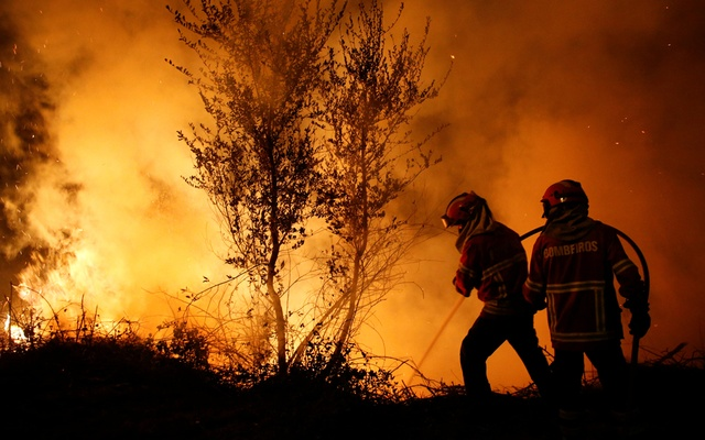 Firefighters work to extinguish flames from a forest fire in Cabanoes near Lousa, Portugal, Oct 16, 2017. Reuters
