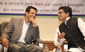 Sajeeb Wazed Joy, ICT adviser to the prime minister, and ICT state minister Zunaid Ahmed Palak interact during a programme in Dhaka.