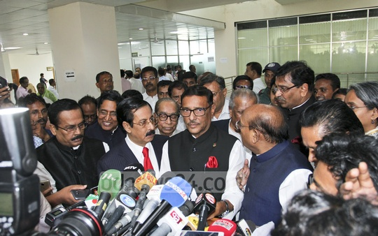 Awami League General Secretary Obaidul Quader briefs the media after talks with the Election Commission on Wednesday. Photo: asif mahmud ove