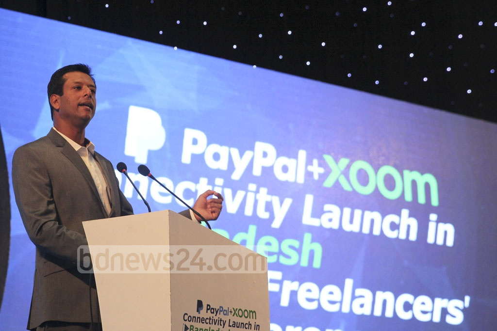 Prime Minister's ICT Affairs Adviser Sajeeb Wazed Joy speaks at the inauguration of PayPal's Xoom services at Bangabandhu International Conference Center on the second day of Bangladesh ICT Expo on Thursday. Photo: asif mahmud ove