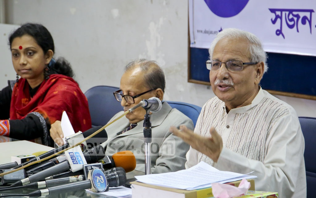 SHUJAN Secretary Badiul Alam Majumdar organises a media conference at Dhaka Reporters' Unity on Sunday to protest a proposal for cancelling the legal provision under which candidates for public office must submit their affidavits. Photo: md asaduzzaman pramanik