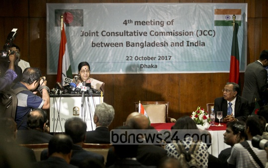 Indian External Affairs Minister Sushma Swaraj speaks at the fourth meeting of the India-Bangladesh Joint Consultative Commission in Dhaka on Sunday. Photo: tanvir ahammed