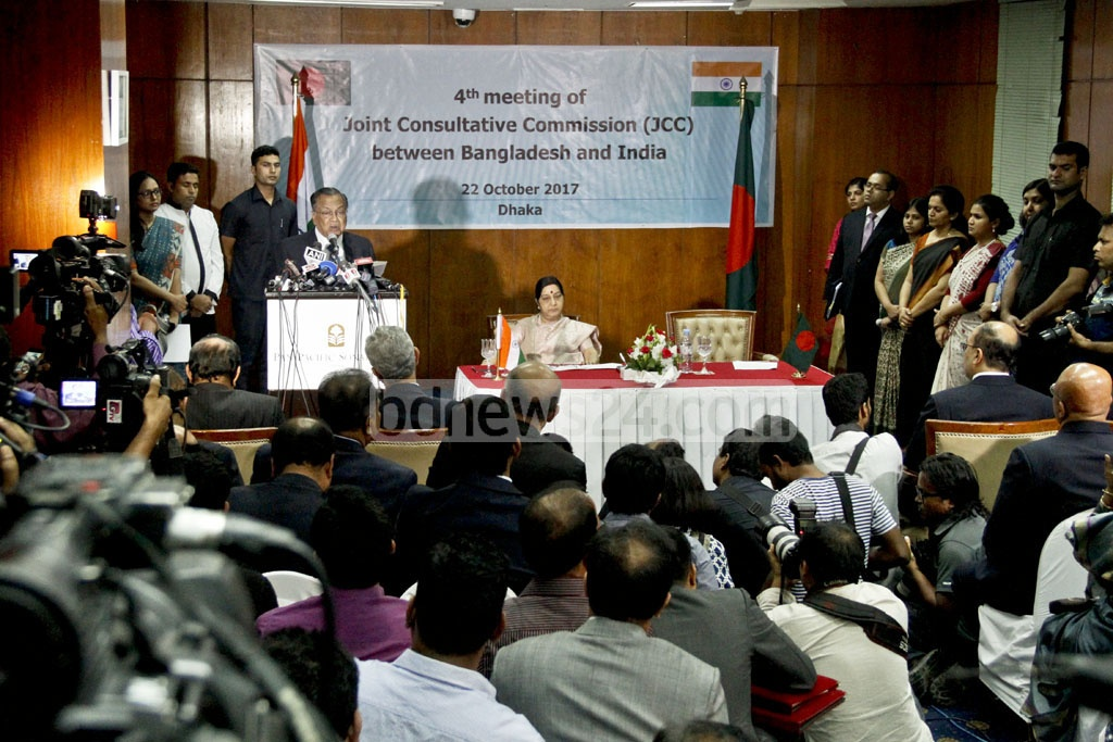 Foreign Minister AH Mahmood Ali speaks at the fourth meeting of the India-Bangladesh Joint Consultative Commission in Dhaka on Sunday. Photo: tanvir ahammed