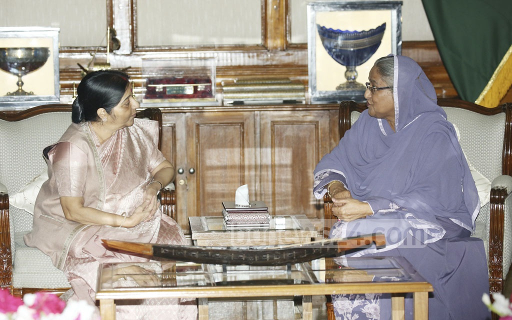 Indian External Affairs Minister Sushma Swaraj meets Prime Minister Sheikh Hasina at the Ganabhaban during her two-day Dhaka visit on Sunday.