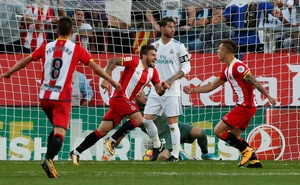 Liga Santander - Girona vs Real Madrid - Estadi Montilivi, Girona, Spain - Oct 29, 2017 Girona's Portu celebrates scoring their second goal. Reuters