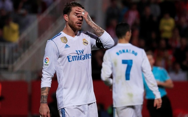 Liga Santander - Girona vs Real Madrid - Estadi Montilivi, Girona, Spain - October 29, 2017 Real Madrid's Sergio Ramos looks dejected. Reuters