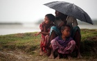 Rohingya refugees shelter from the rain as they wait to receive permission from the Bangladeshi army to continue their way after crossing the Bangladesh-Myanmar border, at a port in Teknaf, Bangladesh, October 31, 2017. Reuters