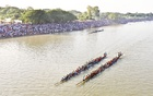 Thousands gather at the banks of the Madhumati River in Magura for a rowing competition.