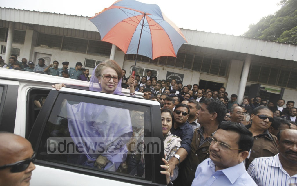 BNP Chairperson Khaleda Zia appeared before a special judge's court in Dhaka on Thursday for the hearing of graft case against her.