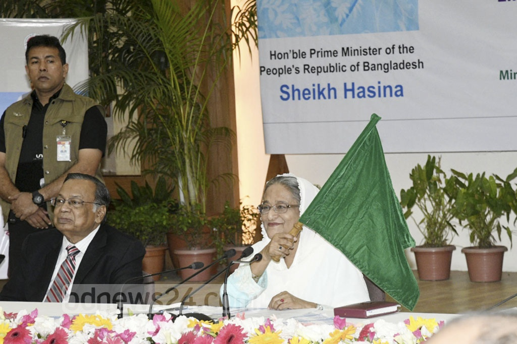 Prime Minister Sheikh Hasina flags off new train service Bandhan Express connecting Khulna with Kolkata through a video conferencing at the Ganabhaban on Thursday. Photo: Yeasin Kabir Joy