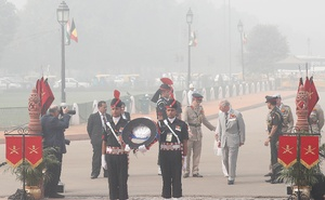 Britain's Prince Charles at the New Delhi's India Gate war memorial on the smoggy morning of Nov 9, 2017. Reuters