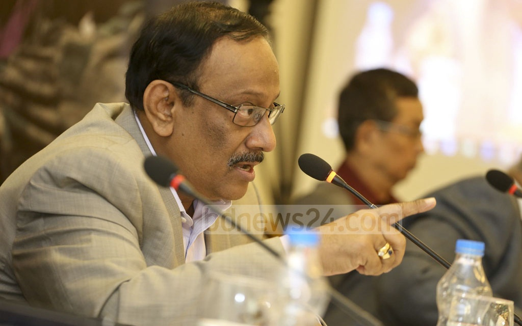 Foreign Secretary Md Shahidul Haque speaks at a dialogue titled ''Addressing Rohingya Crisis: Options for Bangladesh' at a hotel in Dhaka's Gulshan on Saturday.