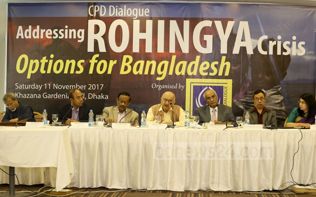 Centre for Policy Dialogue organises a dialogue titled ''Addressing Rohingya Crisis: Options for Bangladesh' at a hotel in Dhaka's Gulshan on Saturday.
