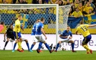 2018 World Cup Qualifiers - Sweden v Italy - Friends Arena, Stockholm, Sweden - November 10, 2017. Sweden's Jakob Johansson scores for 1-0. TT News Agency/Anders Wiklund via Reuters