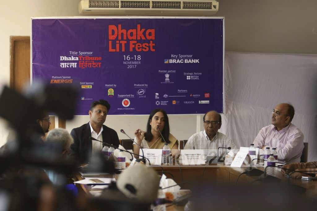 Organisers of the 7th Dhaka Lit Fest brief the media on Sunday on the event. The Fest is scheduled to be held from Nov 16 to 18. Photo: tanvir ahammed