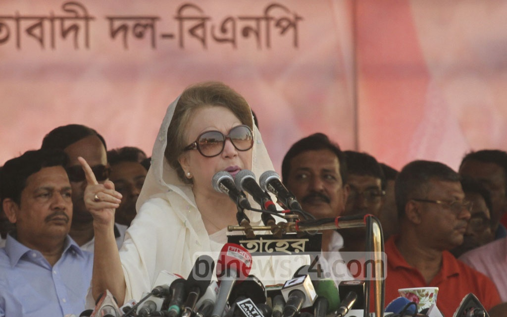 BNP Chairperson Khaleda Zia addresses the party rally at Suhrawardy Udyan in Dhaka on Sunday. Photo: dipu malakar