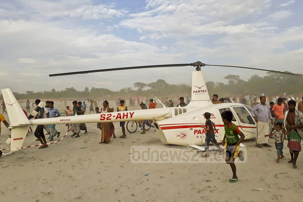 An helicopter of a private company crash landed after a mechanical failure at in Narayanganj's Rupganj on Tuesday.