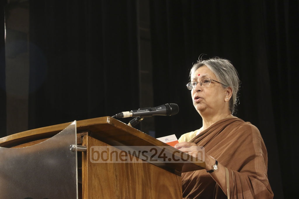 Sultana Kamal, chairperson of the family violence resistance group 'Amrai Pari' (We can) addresses the certificate-giving ceremony organised after the end of a vocational training programme at the Independence War Museum at Agargaon in the capital on Tuesday. Photo: tanvir ahammed