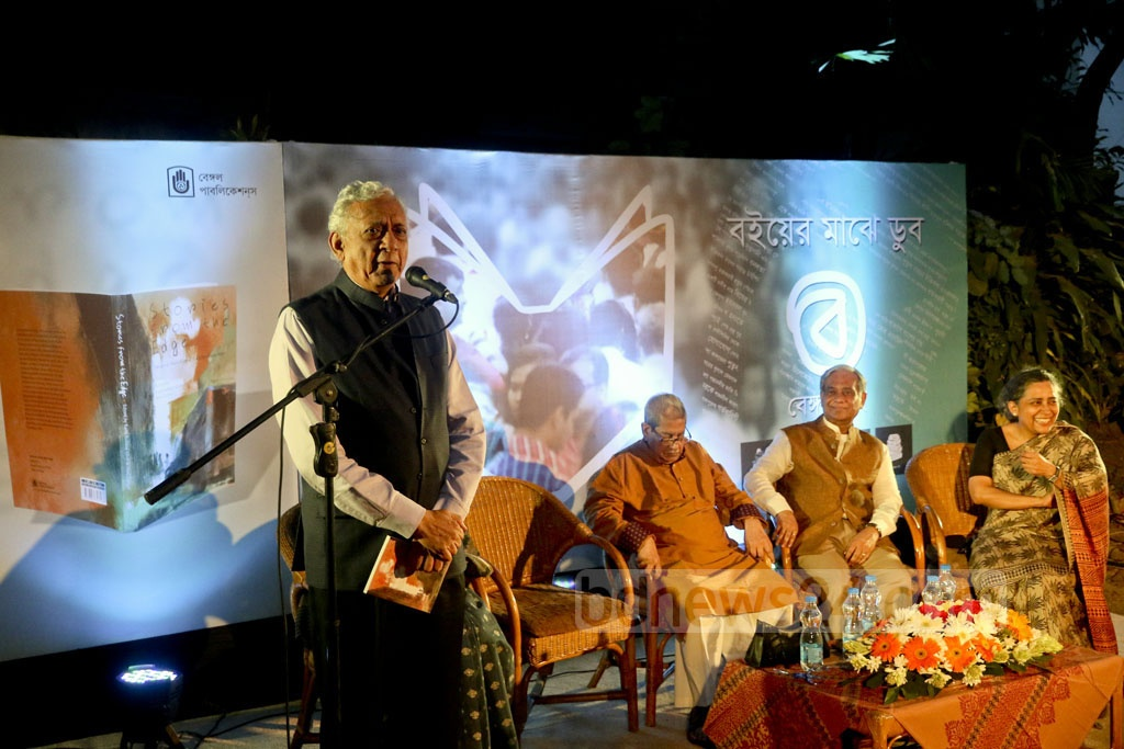 Prime Minister's Advisor for International Affairs Gowher Rizvi addresses the launch of 'Bengal Boi', a bookstore that the Bengal Foundation has opened at Dhaka's Dhanmondi. Photo: tanvir ahammed