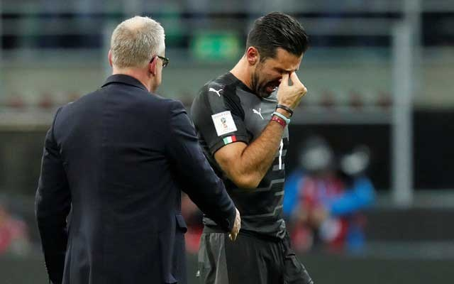 2018 World Cup Qualifications - Europe - Italy vs Sweden - San Siro, Milan, Italy - November 13, 2017 Italy's Gianluigi Buffon looks dejected after the match. Reuters