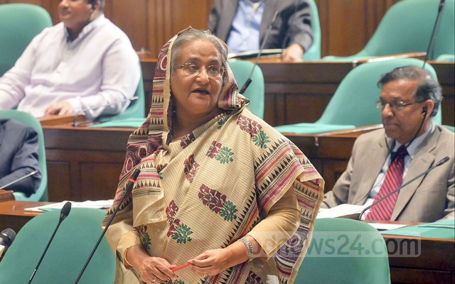 Prime Minister Sheikh Hasina speaks at the question-answer session of parliament on Wednesday.