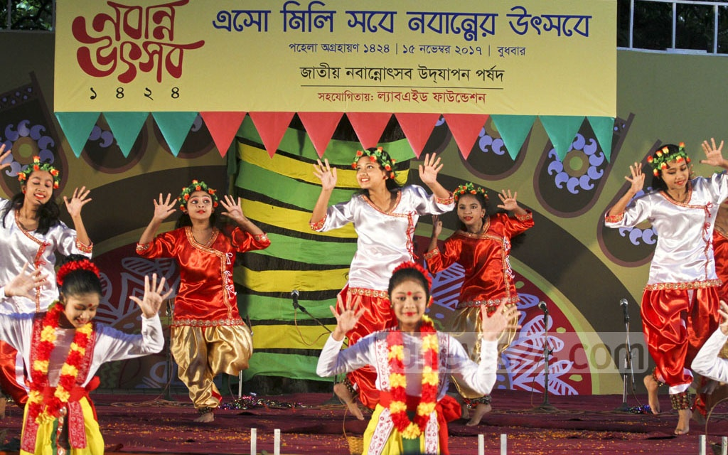 Dancers perform during the celebrations of the Nobanno Utsav at the Institute of Fine Arts in Dhaka on Wednesday. Photo: dipu malakar