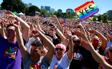 Supporters of the 'Yes' vote for marriage equality celebrate after it was announced the majority of Australians support same-sex marriage in a national survey, paving the way for legislation to make the country the 26th nation to formalise the unions by the end of the year, at a rally in central Sydney, Australia, Nov 15, 2017. Reuters