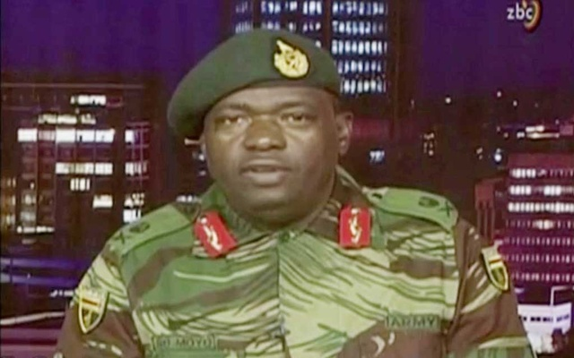 Zimbabwe Defence Forces Major-General SB Moyo makes an announcement on state broadcaster ZBC, in this still image taken from a November 15, 2017 video. ZBC/Handout via Reuters