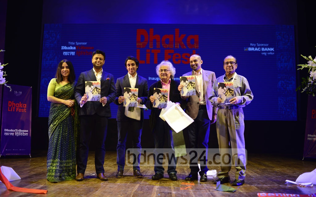 The English version of graphic novel 'Mujib', a biography of the Father of the Nation Bangabandhu Sheikh Mujibur Rahman, is unwrapped at the inauguration of Dhaka Lit Fest on at the Bangla Academy on Thursday.