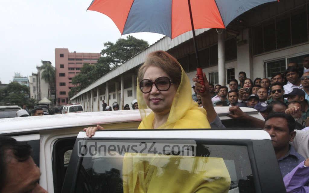 BNP Chairperson Khaleda Zia appeared before a special judge's court in Dhaka on Thursday for a hearing of corruption charges against her. Photo: dipu malakar