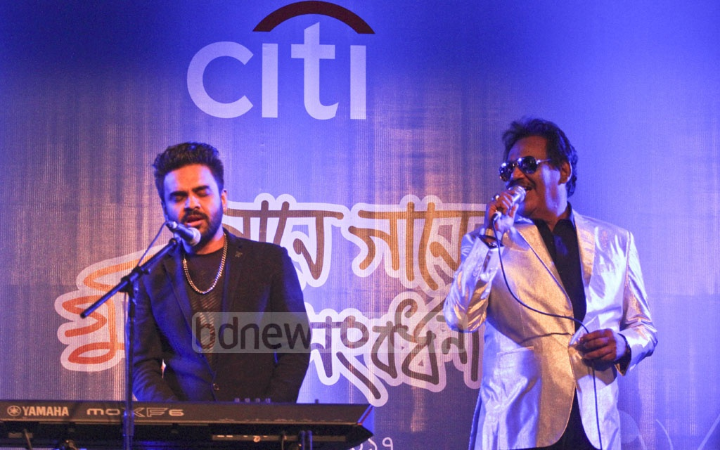 Singer Habib Wahid accompanies his father, Ferdous Wahid at a reception titled 'Gane Gane Gunijan Sangbardhana' arranged by Citi Bank NA at hotel Radisson in Dhaka on Friday. Photo: dipu malakar