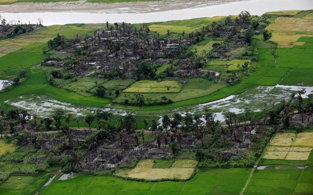 Aerial view of a burned Rohingya village near Maungdaw north of Rakhine state Myanmar