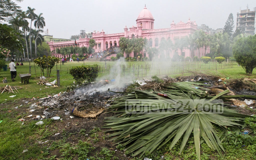 The 'waste management' in Ahsan Manzil premises on Saturday.