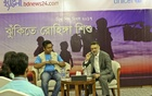 bdnews24.com Editor-in-Chief Toufique Imrose Khalidi moderates a discussion of child journalists at a hotel in Cox's Bazar on Sunday on the challenges faced by children at Rohingya refugee camps and ways to end their plights.