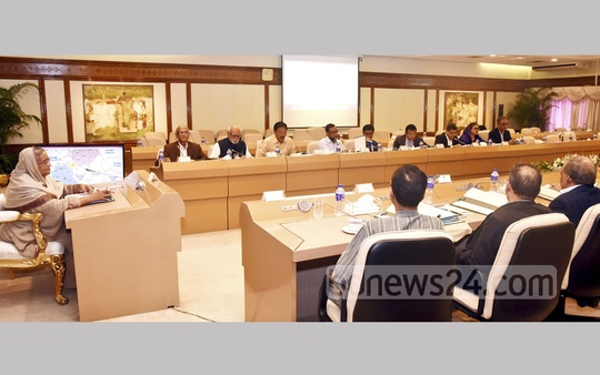 Prime Minister Sheikh Hasina chairing the Cabinet meeting at the Prime Minister's Office on Monday. Photo: PID