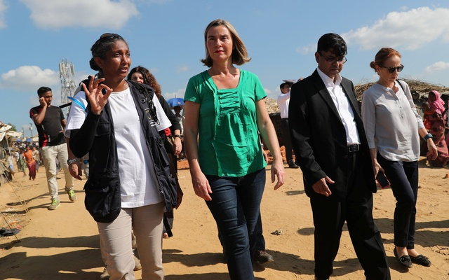 Federica Mogherini, High Representative of the European Union for Foreign Affairs and Security Policy, walks during her visit to the Kutupalong Refugee Camp in Cox''s Bazar, Bangladesh, Nov 19, 2017. Reuters