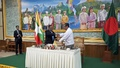 Bangladesh Foreign Minister AH Mahmood Ali and Myanmar's Union Minister U Kyaw Tint Swe sign an initial agreement in Nay Pyi Taw for the return of Rohingya refugees to Myanmar.
