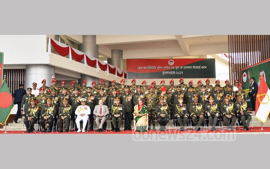 Prime Minister Sheikh Hasina poses for a photograph with senior officers at the Bangladesh Army's Core of Military Police Centre and School's National Standard Award Ceremony on Thursday at the Savar Cantonment. Photo: PMO
