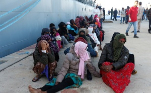 Migrants arrive at a naval base after they were rescued by Libyan coastal guards in Tripoli, Libya Nov 25, 2017. Reuters