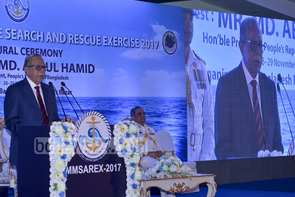 President Md Abdul Hamid addresses the inaugural ceremony of Multilateral Maritime Search and Rescue Exercise of Indian Ocean Naval Symposium at a hotel in Cox's Bazar on Thursday. Photo: PID