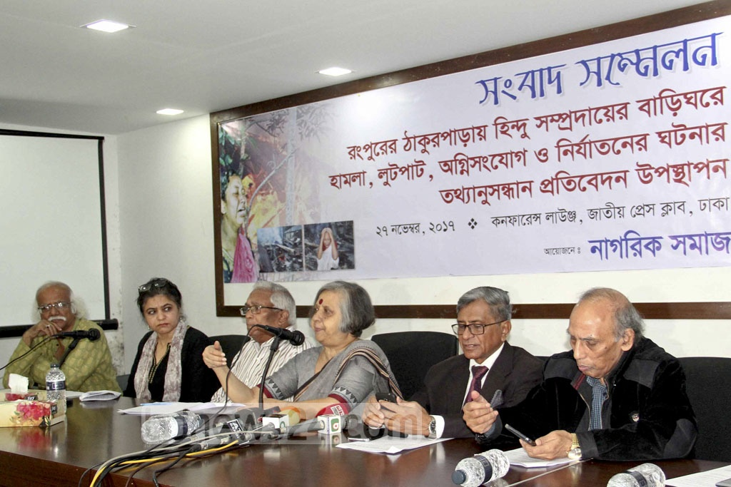 Nagorik Somaj, a platform of citizens, release their findings in Dhaka on Monday on the recent arson attacks on the homes of the Hindus in Rangpur following alleged blasphemy in a Facebook post.